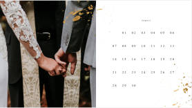 Wedding-themed monthly photo calendar creator template at PicMonkey