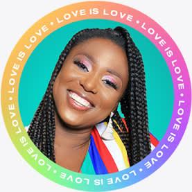 """Diseño de plantilla de imagen de perfil de círculo de arco iris """"El amor es amor""""."""