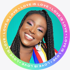"""""""Love is love"""" rainbow circle profile picture template design."""